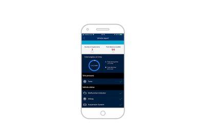 Screenshot of bluelink app on the iPhone: vehicle report